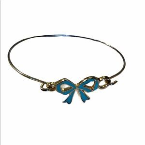 Free People Blue Lacquer Bow Dainty Wire Bracelet
